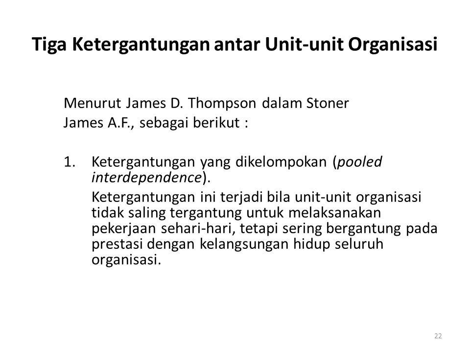 22 Tiga Ketergantungan antar Unit-unit Organisasi Menurut James D. Thompson dalam Stoner James A.F., sebagai berikut : 1.Ketergantungan yang dikelompo