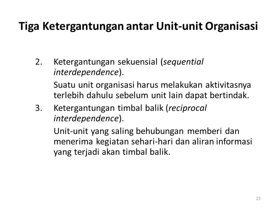 23 Tiga Ketergantungan antar Unit-unit Organisasi 2.Ketergantungan sekuensial (sequential interdependence). Suatu unit organisasi harus melakukan akti