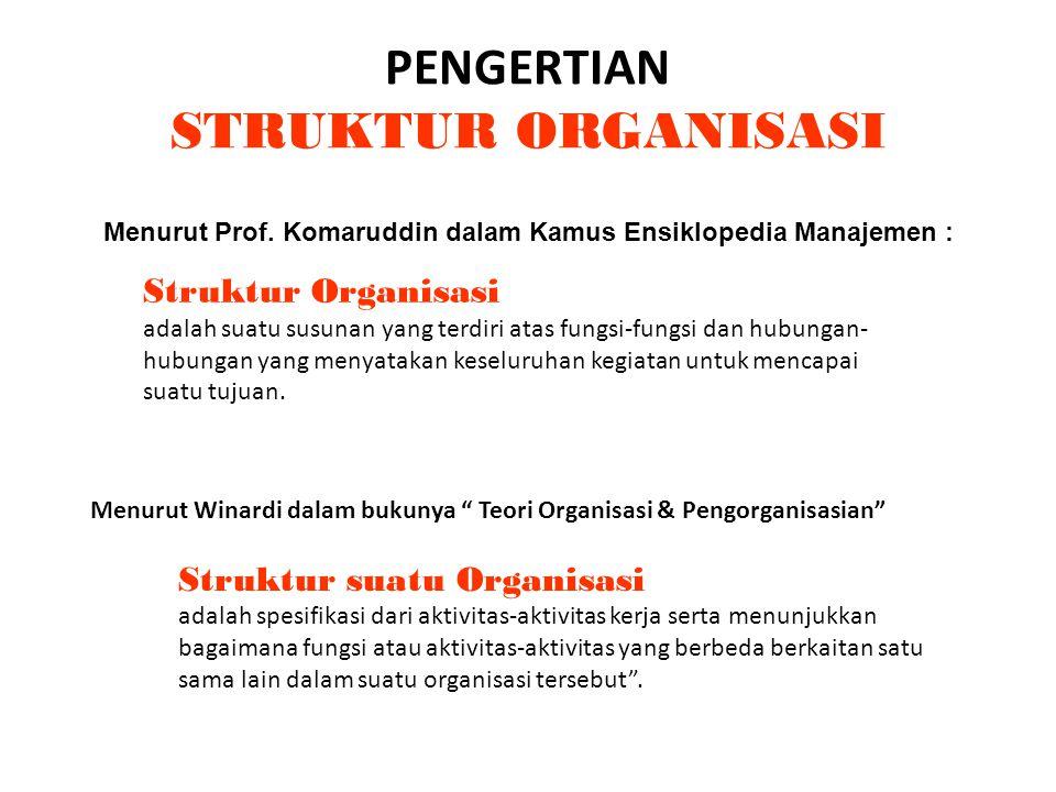 PENGERTIAN STRUKTUR ORGANISASI Menurut Prof. Komaruddin dalam Kamus Ensiklopedia Manajemen : Struktur Organisasi adalah suatu susunan yang terdiri ata