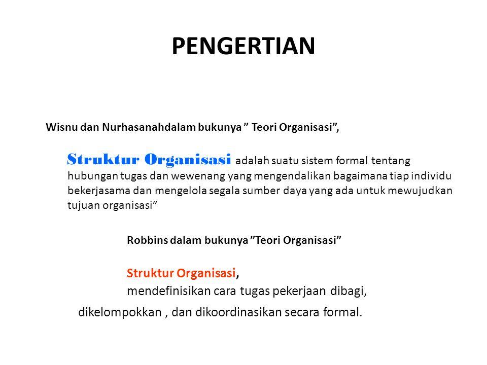 """PENGERTIAN Robbins dalam bukunya """"Teori Organisasi"""" Struktur Organisasi, mendefinisikan cara tugas pekerjaan dibagi, dikelompokkan, dan dikoordinasika"""
