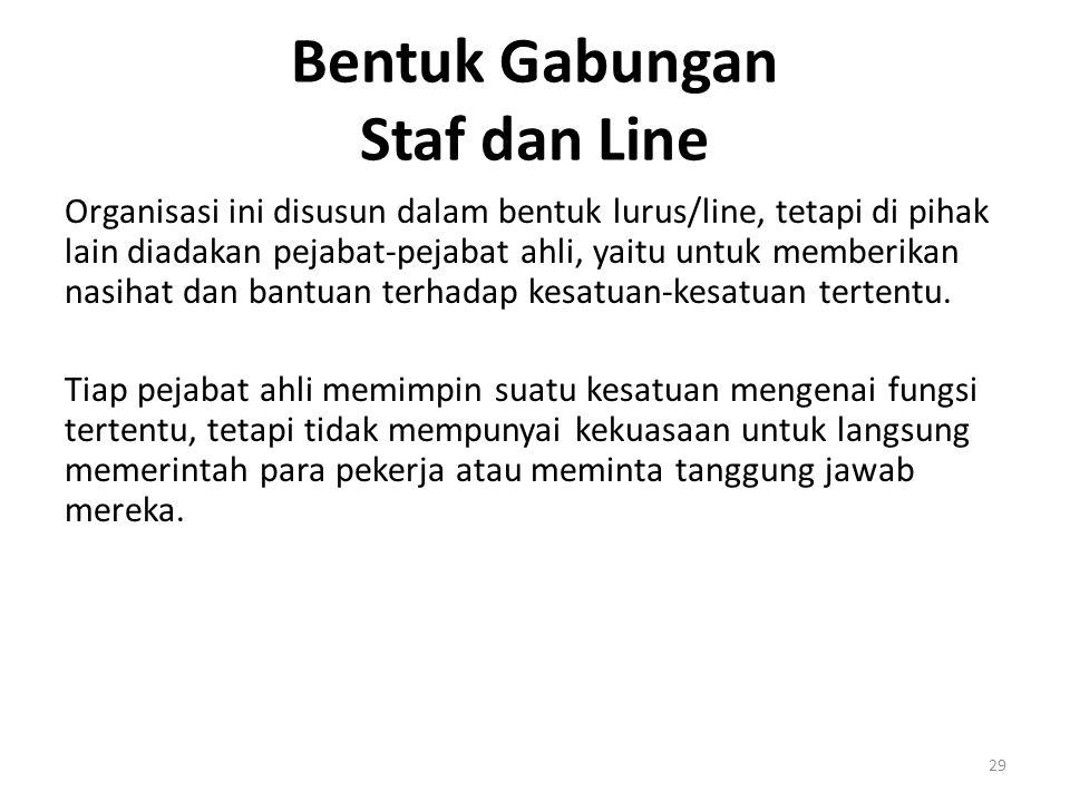 29 Bentuk Gabungan Staf dan Line Organisasi ini disusun dalam bentuk lurus/line, tetapi di pihak lain diadakan pejabat-pejabat ahli, yaitu untuk membe