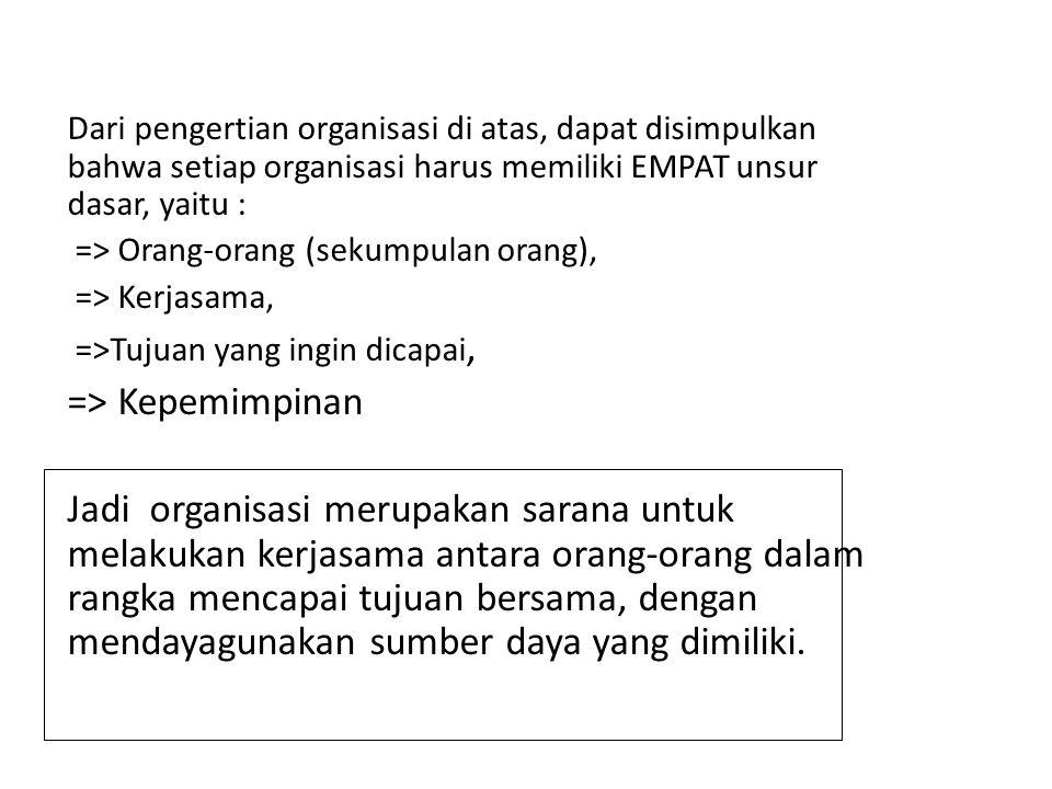 Dari pengertian organisasi di atas, dapat disimpulkan bahwa setiap organisasi harus memiliki EMPAT unsur dasar, yaitu : => Orang-orang (sekumpulan ora