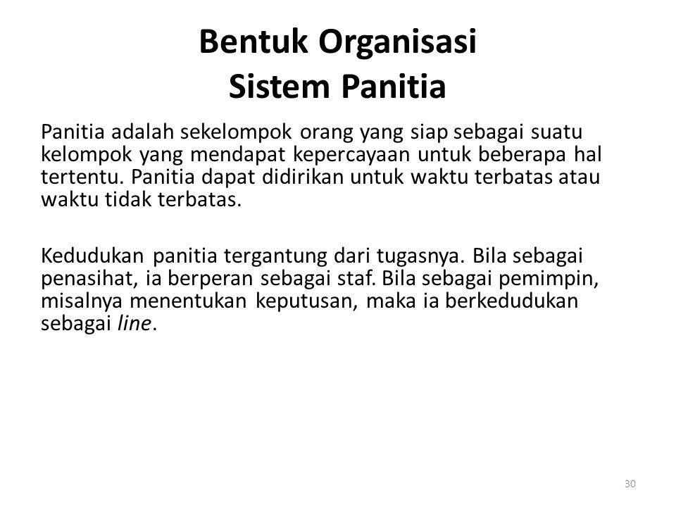 30 Bentuk Organisasi Sistem Panitia Panitia adalah sekelompok orang yang siap sebagai suatu kelompok yang mendapat kepercayaan untuk beberapa hal tert