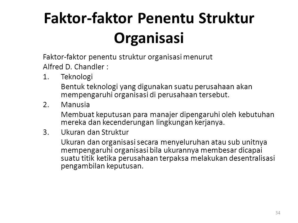 34 Faktor-faktor Penentu Struktur Organisasi Faktor-faktor penentu struktur organisasi menurut Alfred D. Chandler : 1.Teknologi Bentuk teknologi yang