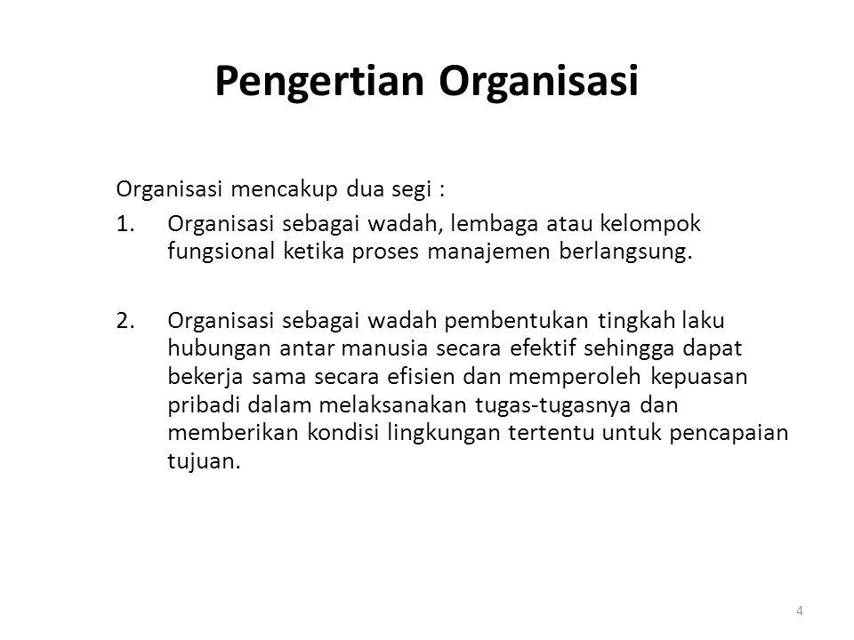 4 Pengertian Organisasi Organisasi mencakup dua segi : 1.Organisasi sebagai wadah, lembaga atau kelompok fungsional ketika proses manajemen berlangsun