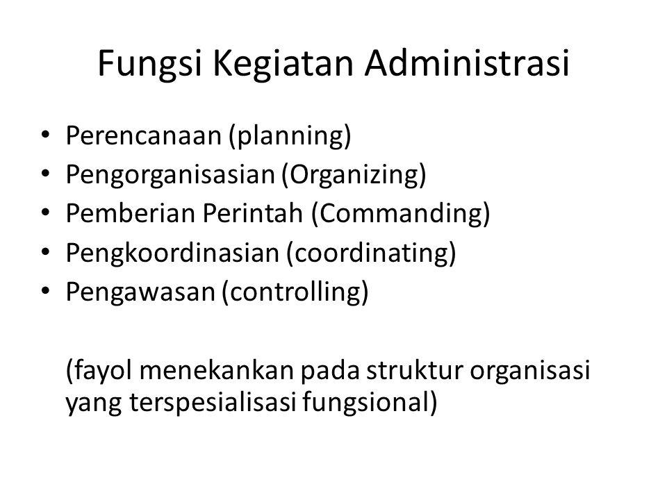 Fungsi Kegiatan Administrasi Perencanaan (planning) Pengorganisasian (Organizing) Pemberian Perintah (Commanding) Pengkoordinasian (coordinating) Peng