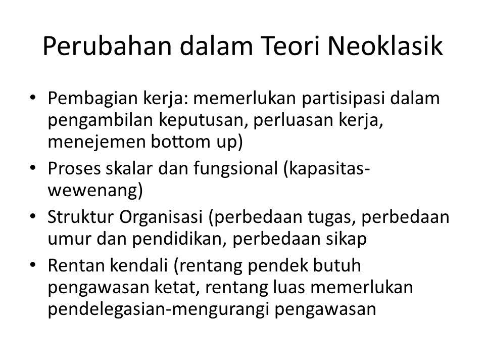 Perubahan dalam Teori Neoklasik Pembagian kerja: memerlukan partisipasi dalam pengambilan keputusan, perluasan kerja, menejemen bottom up) Proses skal