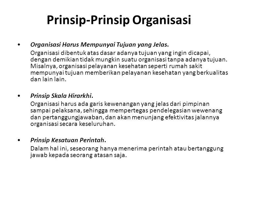 Prinsip-Prinsip Organisasi Organisasi Harus Mempunyai Tujuan yang Jelas. Organisasi dibentuk atas dasar adanya tujuan yang ingin dicapai, dengan demik