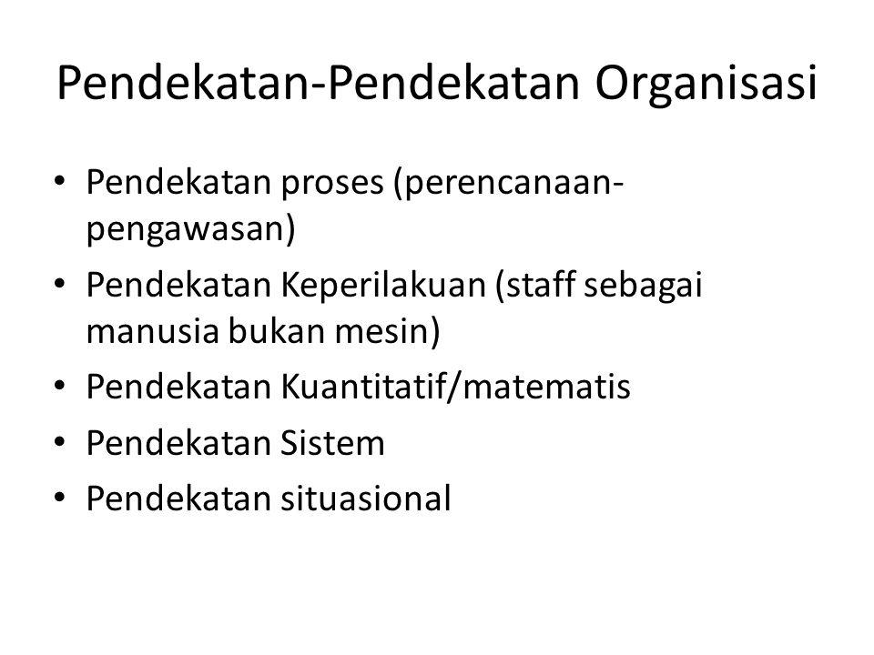 Pendekatan-Pendekatan Organisasi Pendekatan proses (perencanaan- pengawasan) Pendekatan Keperilakuan (staff sebagai manusia bukan mesin) Pendekatan Ku