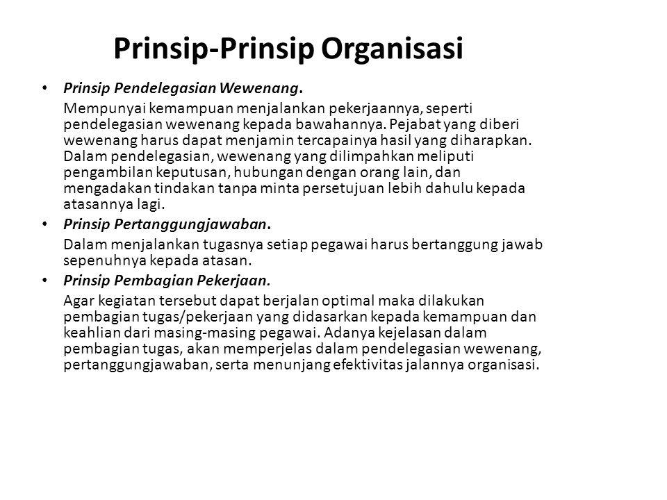 Prinsip-Prinsip Organisasi Prinsip Pendelegasian Wewenang. Mempunyai kemampuan menjalankan pekerjaannya, seperti pendelegasian wewenang kepada bawahan
