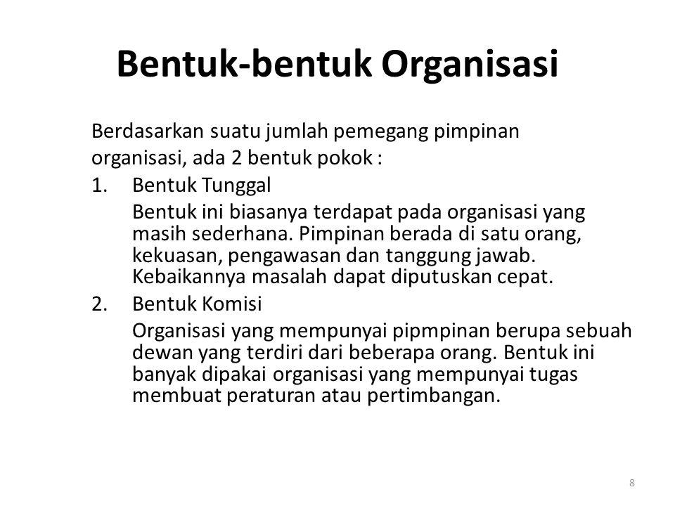Bentuk-bentuk Organisasi Berdasarkan suatu jumlah pemegang pimpinan organisasi, ada 2 bentuk pokok : 1.Bentuk Tunggal Bentuk ini biasanya terdapat pad