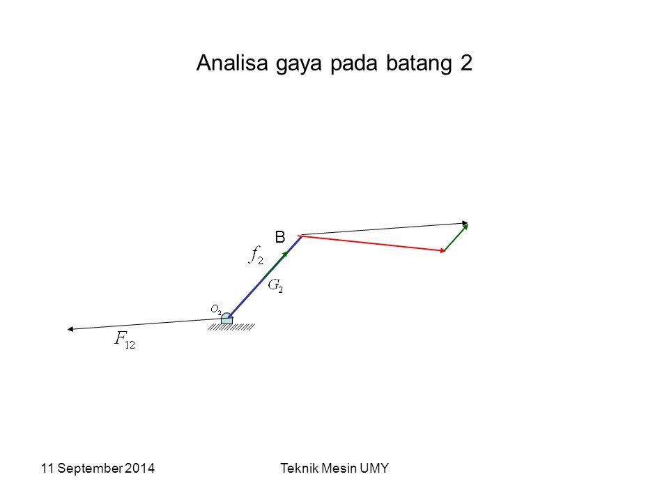 11 September 2014Teknik Mesin UMY Analisa gaya pada batang 2 B