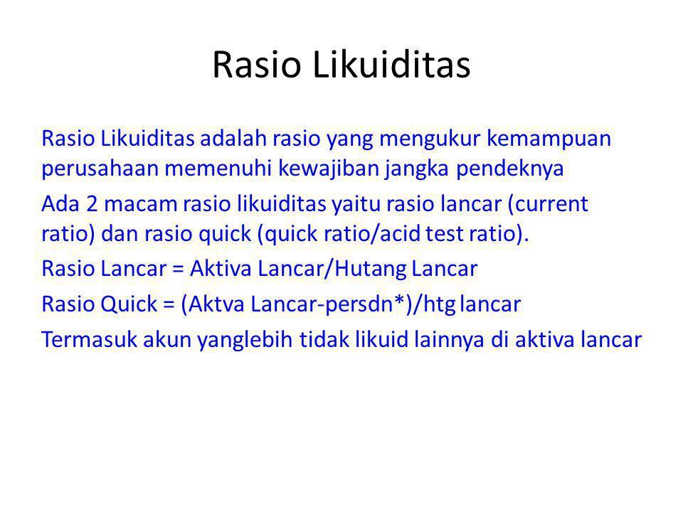 Rasio Likuiditas – Rasio Lancar Misal: Rasio lancar = 2 Interpretasi: setiap Rp 1 hutang lancar dijamin oleh Rp 2 aktiva lancar.