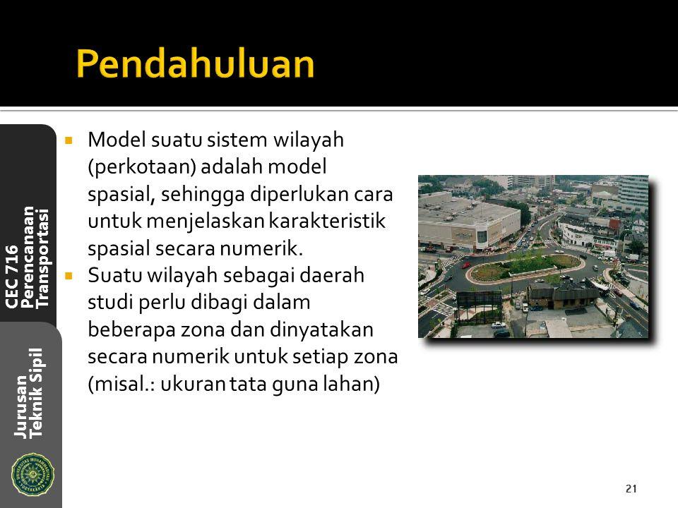 CEC 716 Perencanaan Transportasi Jurusan Teknik Sipil  Model suatu sistem wilayah (perkotaan) adalah model spasial, sehingga diperlukan cara untuk me