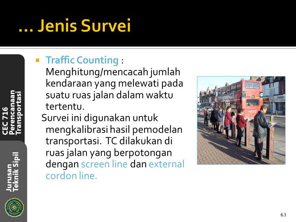 CEC 716 Perencanaan Transportasi Jurusan Teknik Sipil  Traffic Counting : Menghitung/mencacah jumlah kendaraan yang melewati pada suatu ruas jalan da