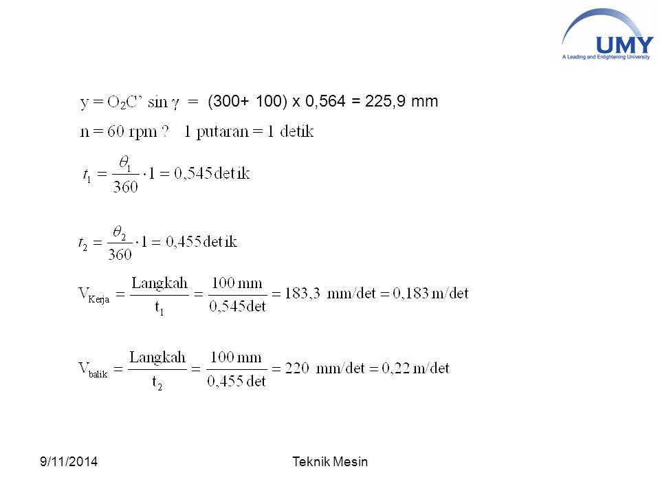 (300+ 100) x 0,564 = 225,9 mm 9/11/2014Teknik Mesin