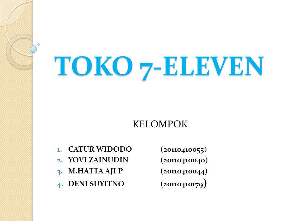 TOKO 7-ELEVEN KELOMPOK 1.CATUR WIDODO(20110410055) 2.YOVI ZAINUDIN(20110410040) 3.M.HATTA AJI P(20110410044) 4.DENI SUYITNO(20110410179 )