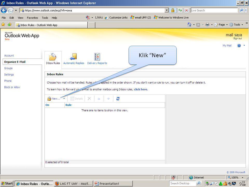 Selanjutnya jika ada email yang dikirimkan ke account UMY kita, maka email tersebut diterima juga di account Yahoo kita