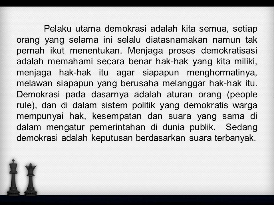 Kesimpulan dan Saran Melihat dari point-point yang telah di sebutkan diatas jelas sekali bahwa negara kita Indonesia sudah dapat di sebut negara berdomkrasi namun melihat fakta kenyataan yang ada banyak yang menyalahgunakan demokratis negri kita Indonesia untuk kepentingan golongan ataupun kepentingan pribadi sendiri.