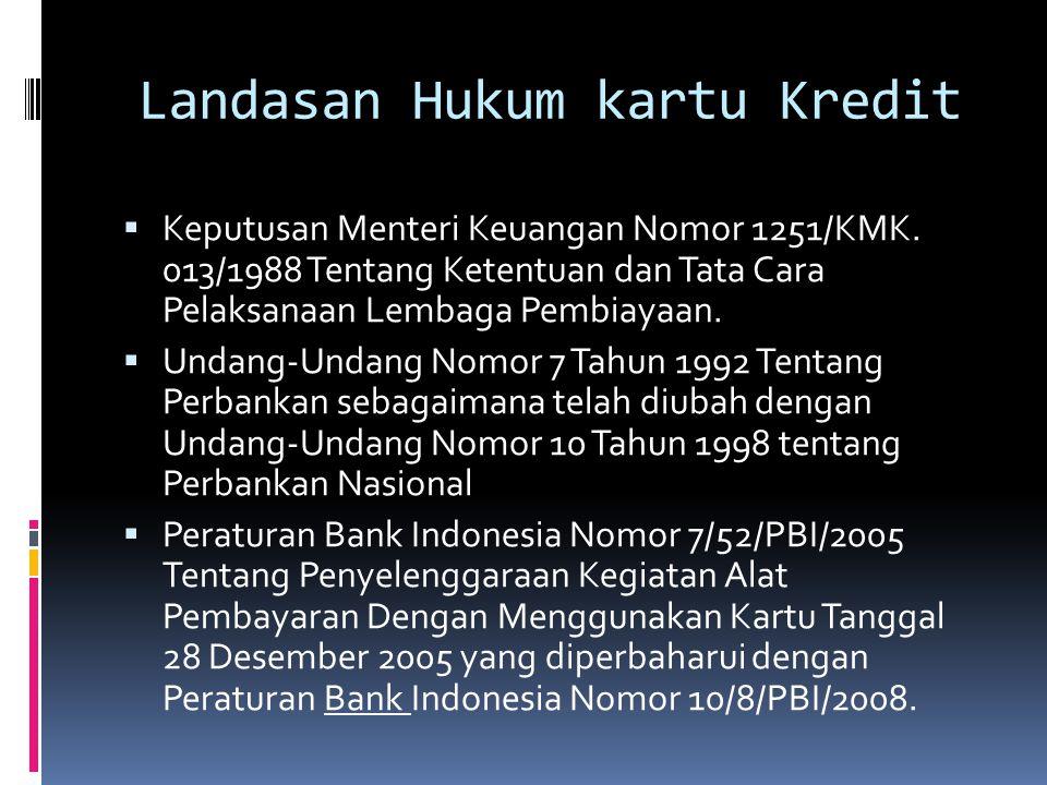 Landasan Hukum kartu Kredit  Peraturan Bank Indonesia No : 6/24/PBI/2004 tentang Bank umum yang melaksanakan kegiatan berdasarkan prinsip syariah.