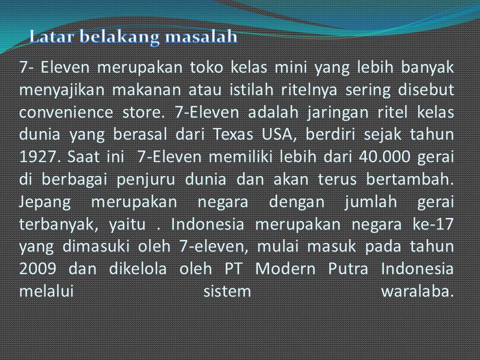 7- Eleven merupakan toko kelas mini yang lebih banyak menyajikan makanan atau istilah ritelnya sering disebut convenience store.