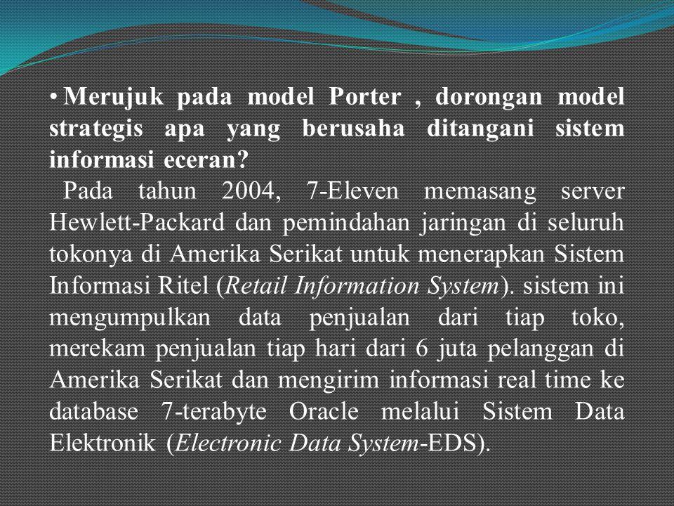 Merujuk pada model Porter, dorongan model strategis apa yang berusaha ditangani sistem informasi eceran.