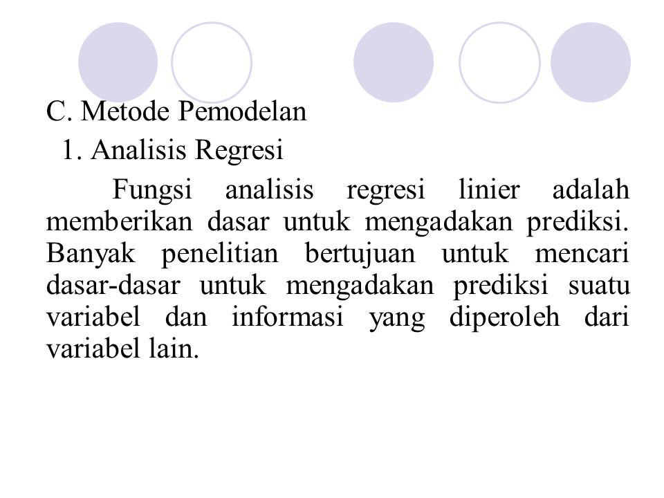 C. Metode Pemodelan 1. Analisis Regresi Fungsi analisis regresi linier adalah memberikan dasar untuk mengadakan prediksi. Banyak penelitian bertujuan