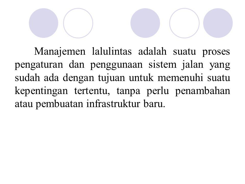 Manajemen lalulintas adalah suatu proses pengaturan dan penggunaan sistem jalan yang sudah ada dengan tujuan untuk memenuhi suatu kepentingan tertentu