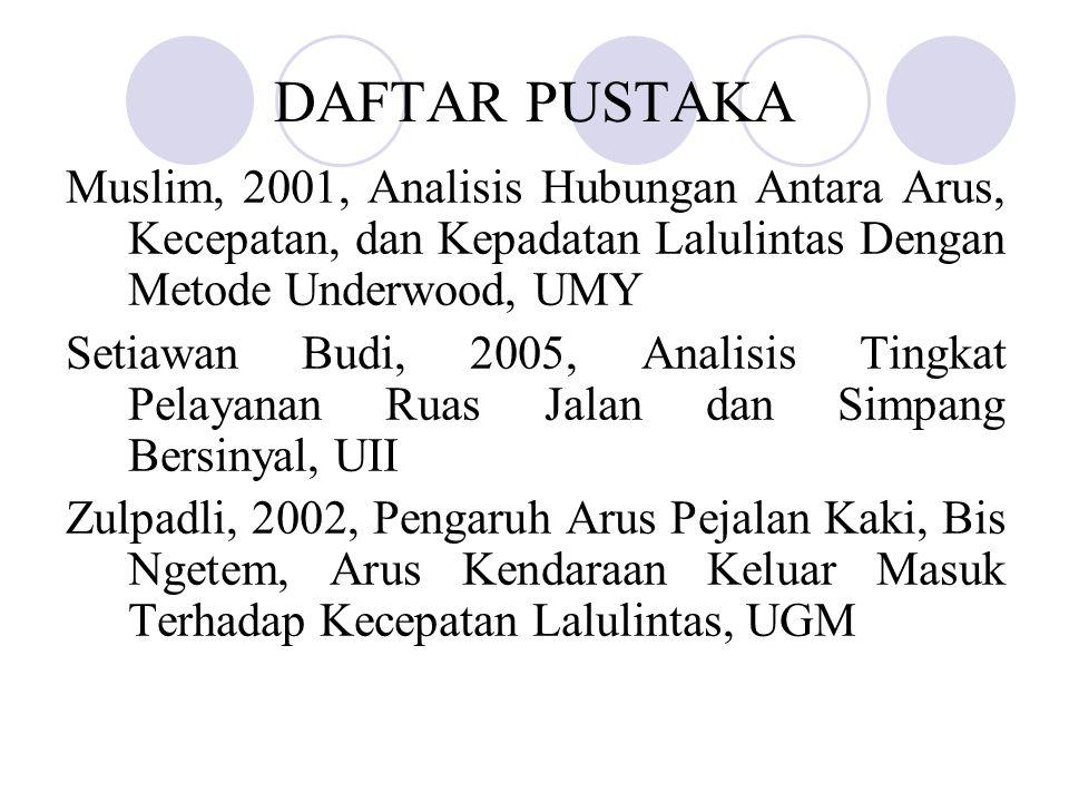 DAFTAR PUSTAKA Muslim, 2001, Analisis Hubungan Antara Arus, Kecepatan, dan Kepadatan Lalulintas Dengan Metode Underwood, UMY Setiawan Budi, 2005, Anal