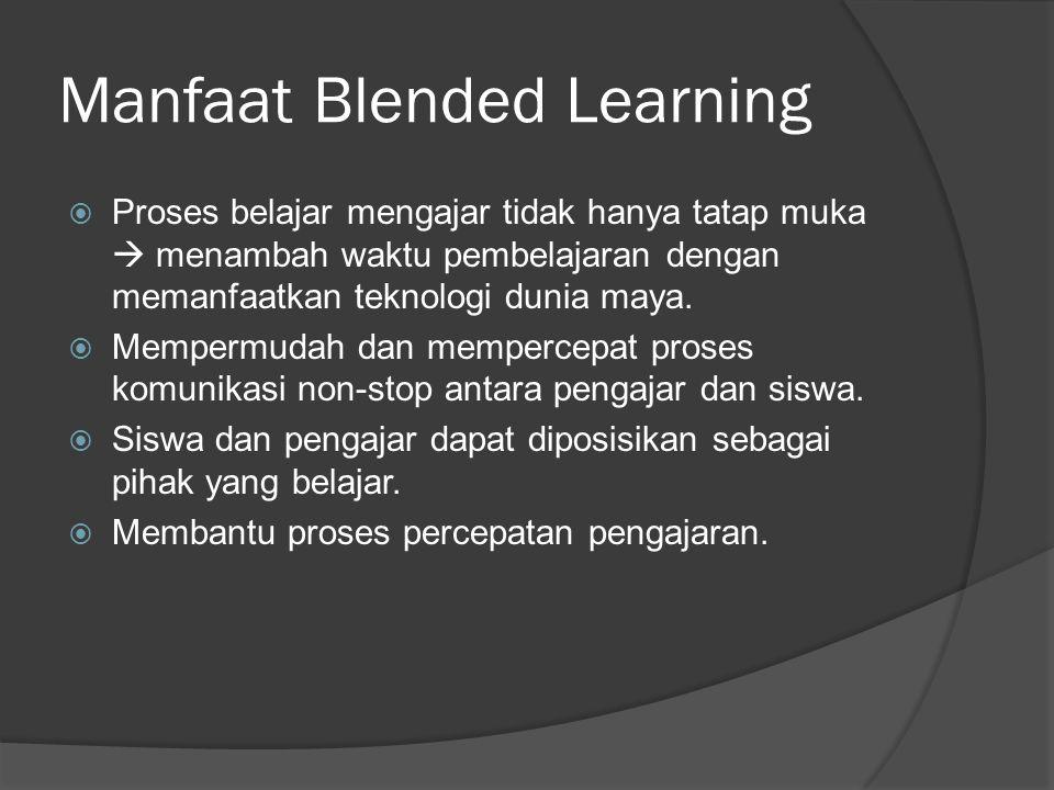 Manfaat Blended Learning  Proses belajar mengajar tidak hanya tatap muka  menambah waktu pembelajaran dengan memanfaatkan teknologi dunia maya.  Me