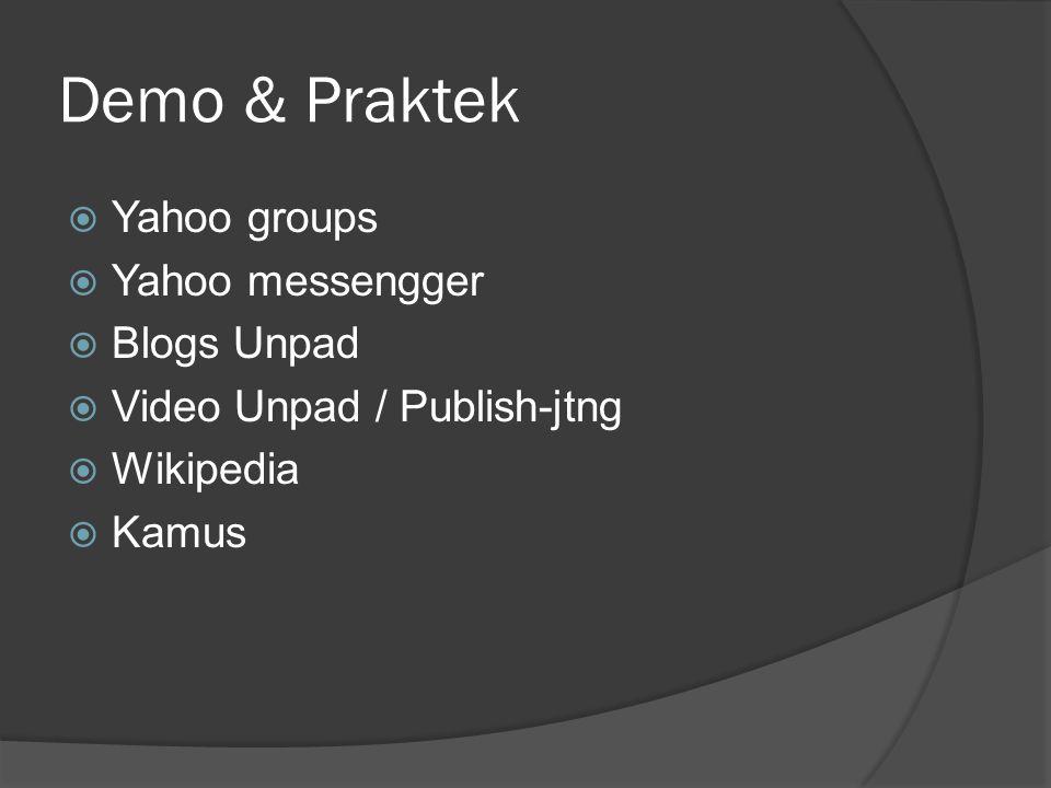 Demo & Praktek  Yahoo groups  Yahoo messengger  Blogs Unpad  Video Unpad / Publish-jtng  Wikipedia  Kamus