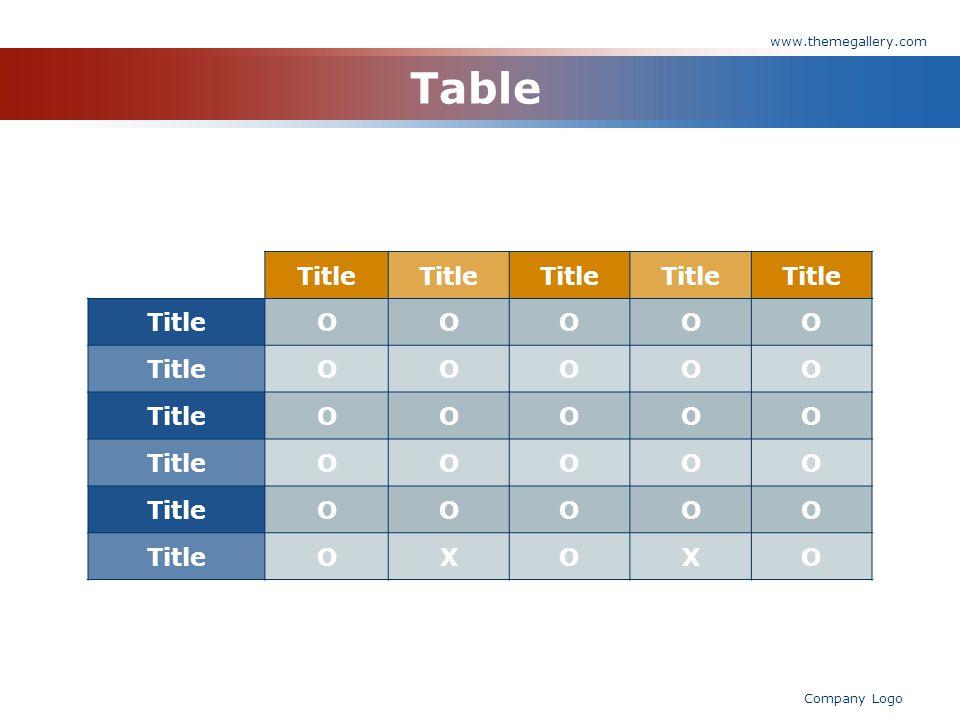 www.themegallery.com Company Logo Table Title OOOOO OOOOO OOOOO OOOOO OOOOO OXOXO