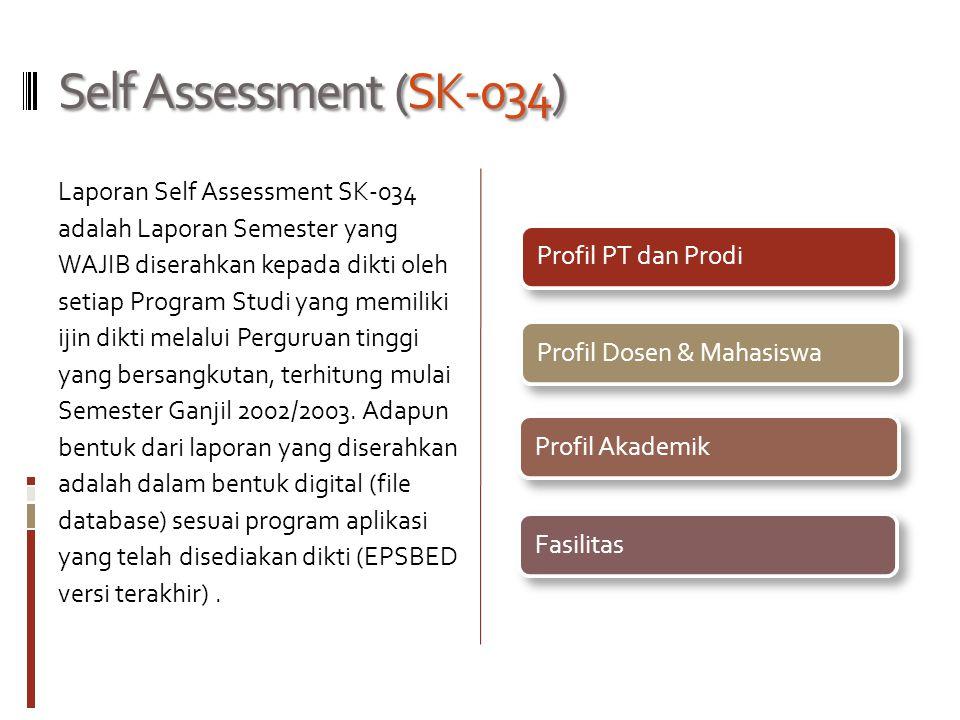 Self Assessment (SK-034) Laporan Self Assessment SK-034 adalah Laporan Semester yang WAJIB diserahkan kepada dikti oleh setiap Program Studi yang memiliki ijin dikti melalui Perguruan tinggi yang bersangkutan, terhitung mulai Semester Ganjil 2002/2003.