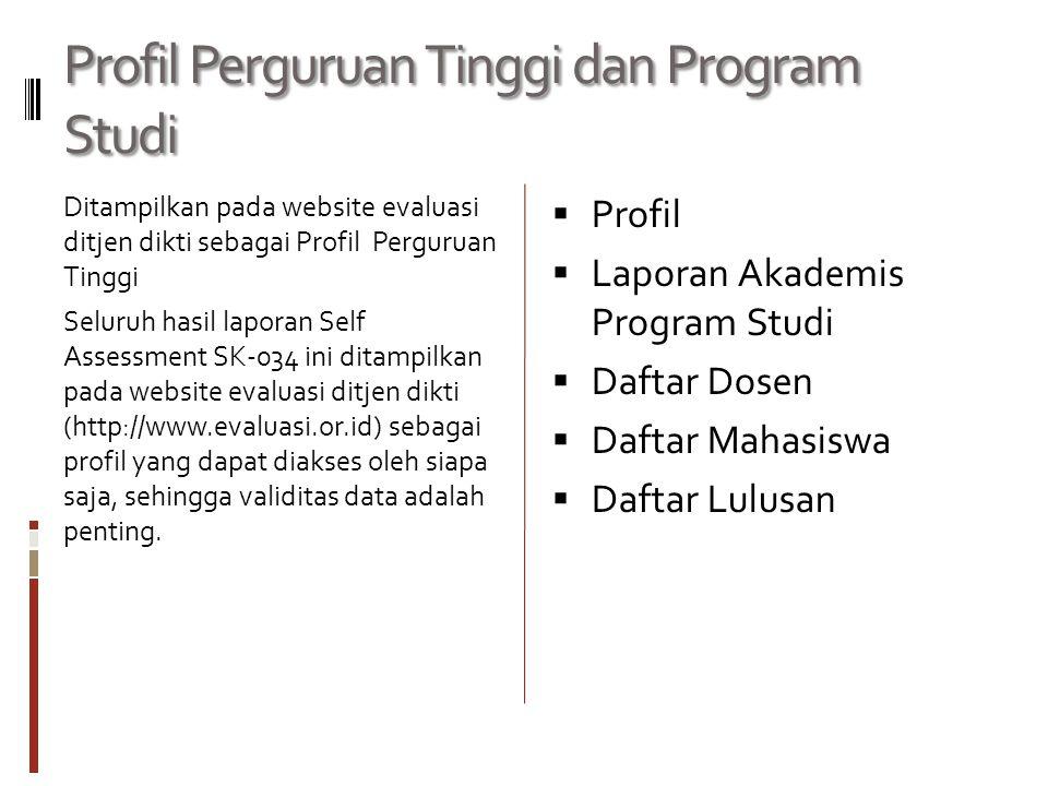 Profil Perguruan Tinggi dan Program Studi Ditampilkan pada website evaluasi ditjen dikti sebagai Profil Perguruan Tinggi Seluruh hasil laporan Self As