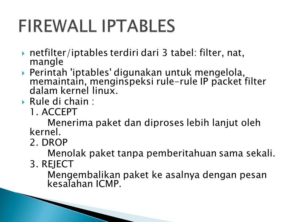  netfilter/iptables terdiri dari 3 tabel: filter, nat, mangle  Perintah 'iptables' digunakan untuk mengelola, memaintain, menginspeksi rule-rule IP