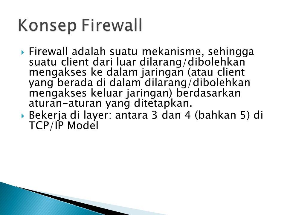 Firewall adalah suatu mekanisme, sehingga suatu client dari luar dilarang/dibolehkan mengakses ke dalam jaringan (atau client yang berada di dalam d