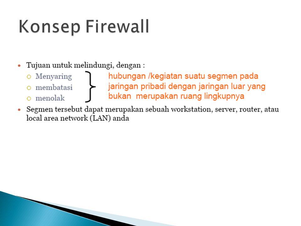 pc (jaringan local) firewall internet (jaringan lain)
