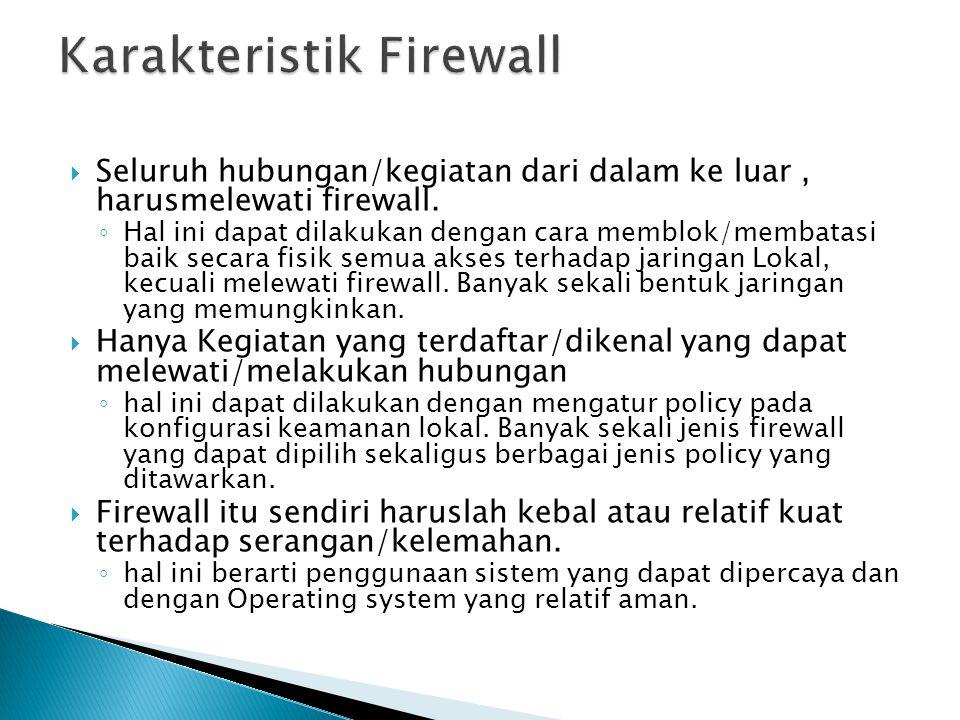  Seluruh hubungan/kegiatan dari dalam ke luar, harusmelewati firewall. ◦ Hal ini dapat dilakukan dengan cara memblok/membatasi baik secara fisik semu