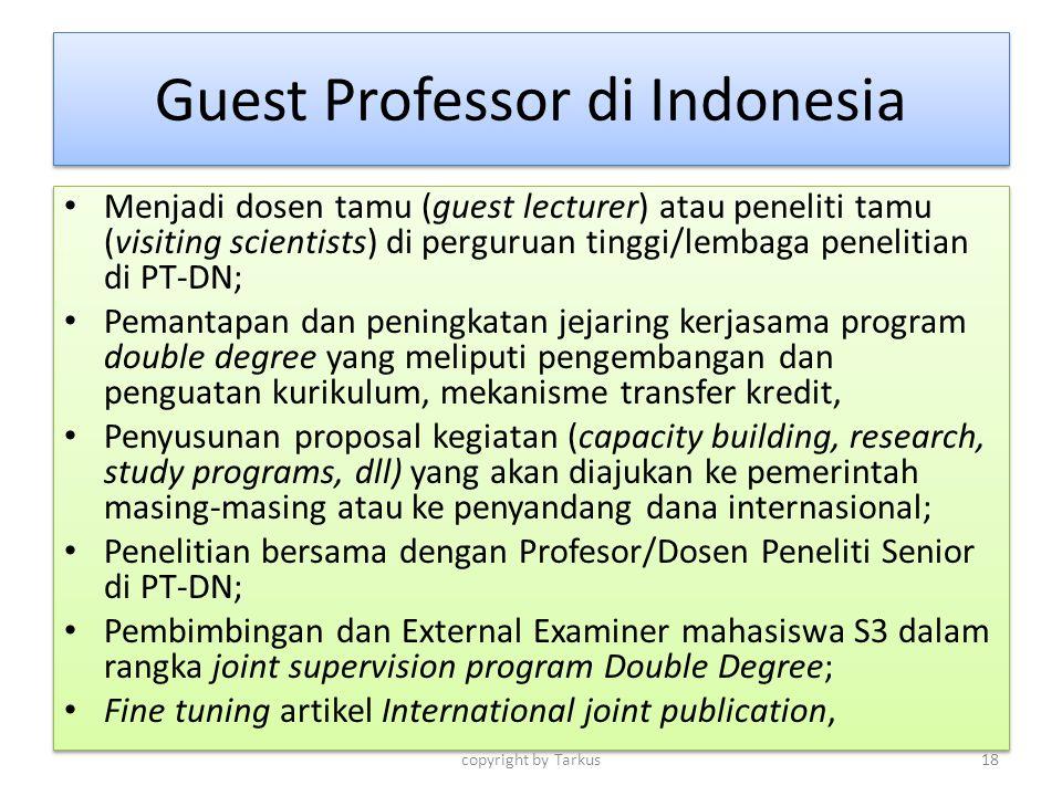 Guest Professor di Indonesia Menjadi dosen tamu (guest lecturer) atau peneliti tamu (visiting scientists) di perguruan tinggi/lembaga penelitian di PT
