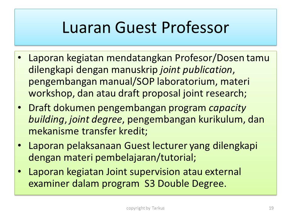 Luaran Guest Professor Laporan kegiatan mendatangkan Profesor/Dosen tamu dilengkapi dengan manuskrip joint publication, pengembangan manual/SOP labora