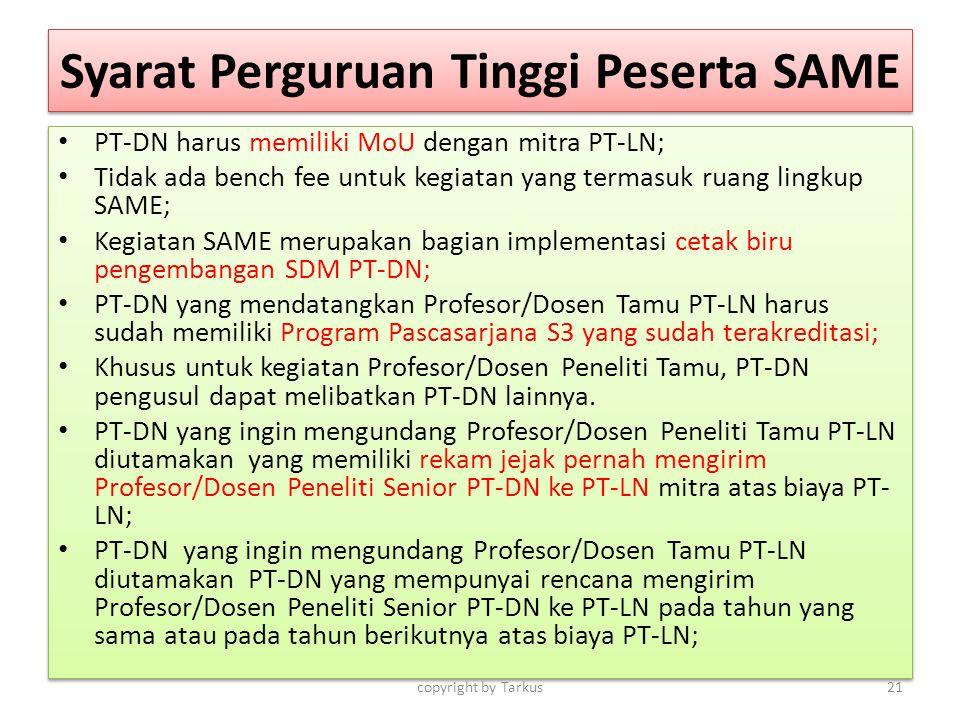 Syarat Perguruan Tinggi Peserta SAME PT-DN harus memiliki MoU dengan mitra PT-LN; Tidak ada bench fee untuk kegiatan yang termasuk ruang lingkup SAME;