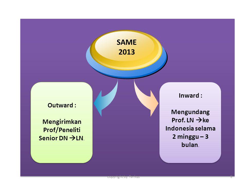 Inward : Mengundang Prof. LN  ke Indonesia selama 2 minggu – 3 bulan. Outward : Mengirimkan Prof/Peneliti Senior DN  LN. SAME 2013 copyright by Tark