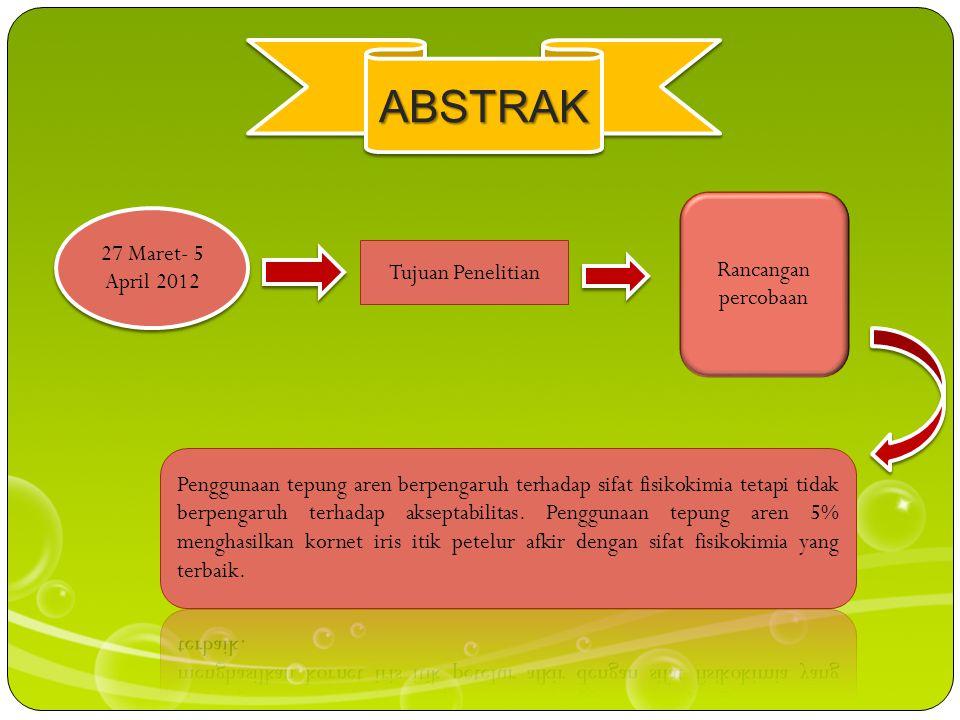 ABSTRAKABSTRAK 27 Maret- 5 April 2012 Tujuan Penelitian Rancangan percobaan