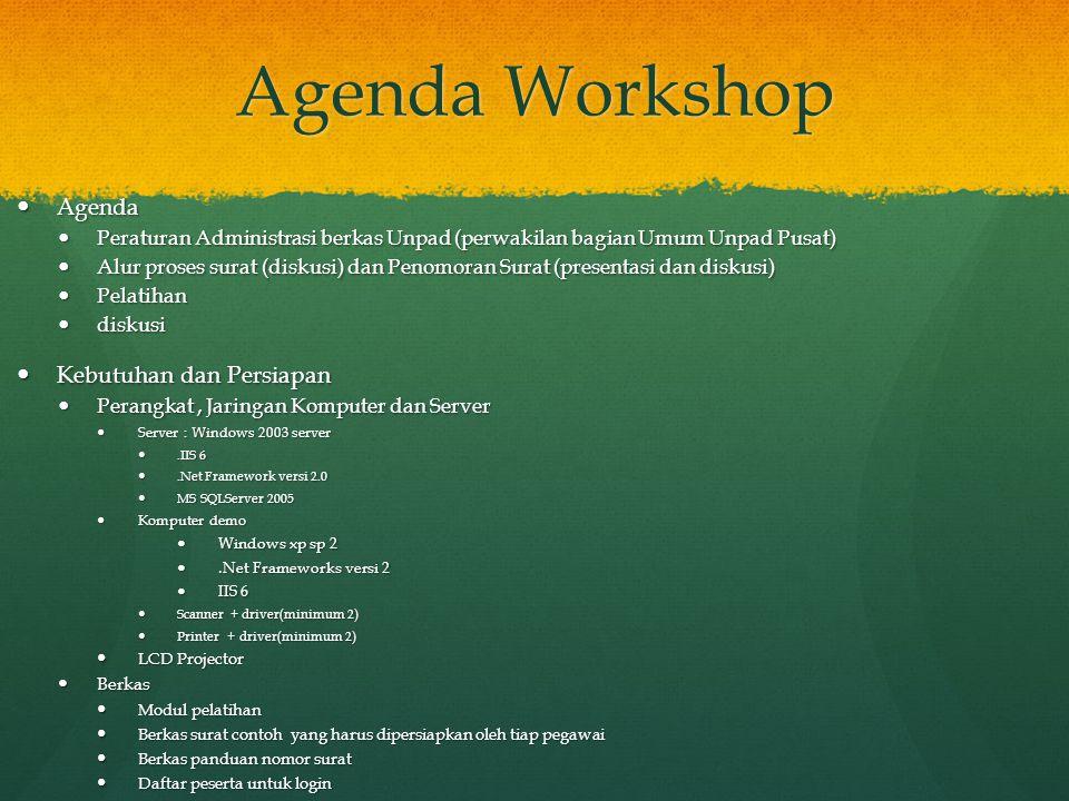 Agenda Workshop Agenda Agenda Peraturan Administrasi berkas Unpad (perwakilan bagian Umum Unpad Pusat) Peraturan Administrasi berkas Unpad (perwakilan