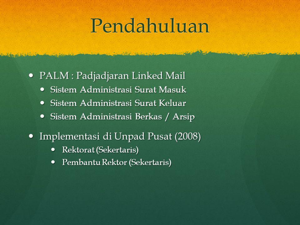 Evaluasi PALM 1.0 (2008) PALM sudah tidak digunakan lagi PALM sudah tidak digunakan lagi Tidak adanya Monitoring (Pimpinan, DCISTEM) Tidak adanya Monitoring (Pimpinan, DCISTEM) Manfaat Sistem tidak sampai hingga para pimpinan  Kurangnya sosialisasi terhadap pimpinan.