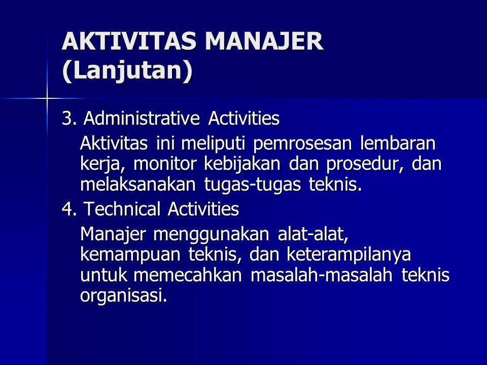 3. Administrative Activities Aktivitas ini meliputi pemrosesan lembaran kerja, monitor kebijakan dan prosedur, dan melaksanakan tugas-tugas teknis. 4.