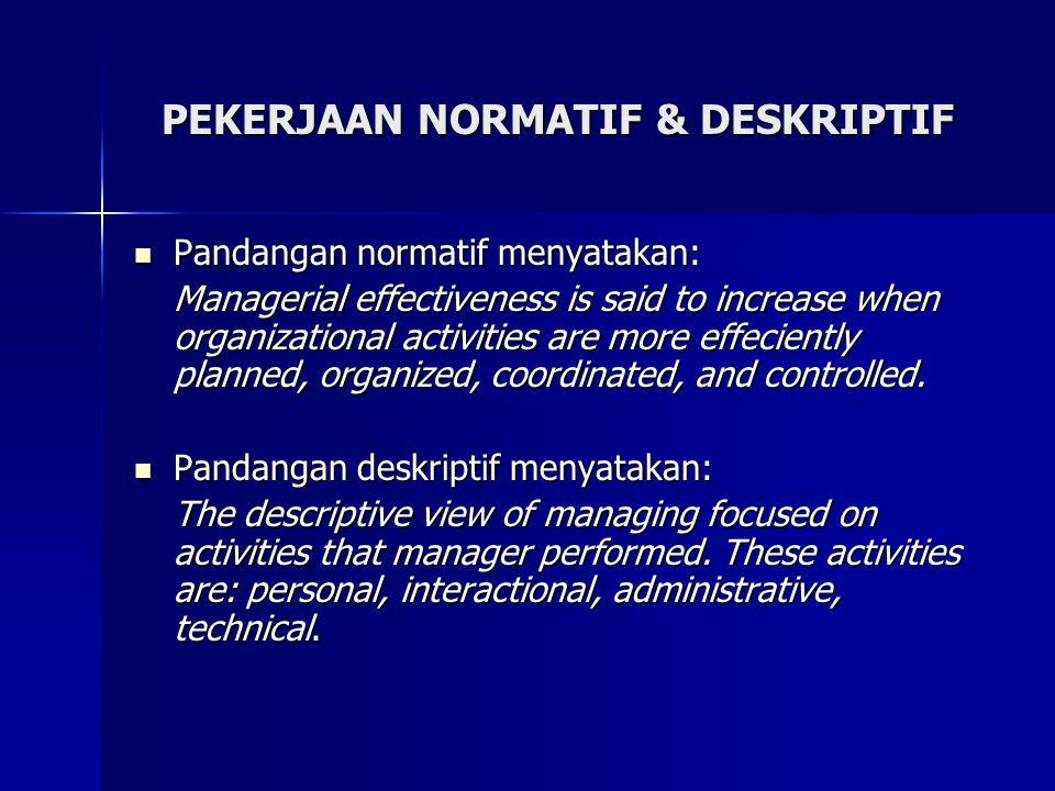 Tugas normatif manajer sering disebut sebagai tugas utama manajer.