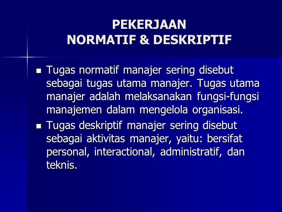 Tugas normatif manajer sering disebut sebagai tugas utama manajer. Tugas utama manajer adalah melaksanakan fungsi-fungsi manajemen dalam mengelola org