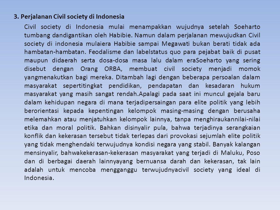 3. Perjalanan Civil society di Indonesia Civil society di Indonesia mulai menampakkan wujudnya setelah Soeharto tumbang dandigantikan oleh Habibie. Na
