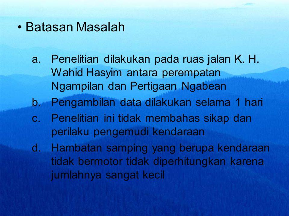 Batasan Masalah a.Penelitian dilakukan pada ruas jalan K. H. Wahid Hasyim antara perempatan Ngampilan dan Pertigaan Ngabean b.Pengambilan data dilakuk